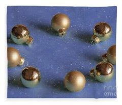 Golden Christmas Balls On The Snowy Background Fleece Blanket