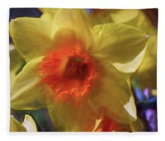 Fleece Blanket featuring the mixed media Golden Daffodil Brilliance by Lynda Lehmann