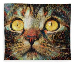Golden Eyes Dreaming Fleece Blanket