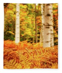 Golden Ferns In The Birch Glade Fleece Blanket