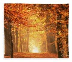 Golden Forest In Fall Season Fleece Blanket
