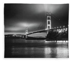Golden Gate Bridge B/w Fleece Blanket