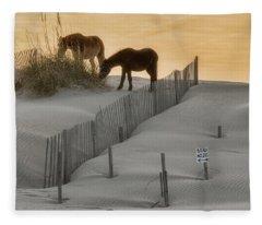 Golden Horses Fleece Blanket