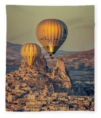 Golden Hour Balloons Fleece Blanket
