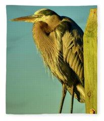 Golden Hour Heron Fleece Blanket
