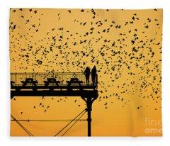 Golden Hour Starlings Over Aberyswyth Pier Fleece Blanket