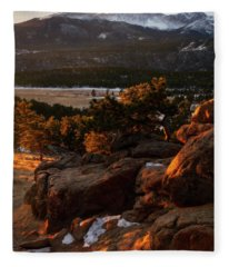 Golden Light In Rocky Mountain National Park Fleece Blanket