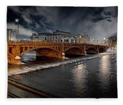 Golden Pearl Street Bridge Grand Rapids Fleece Blanket