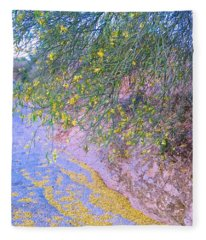 Fleece Blanket featuring the photograph Golden Petals In A Desert Wash by Judy Kennedy
