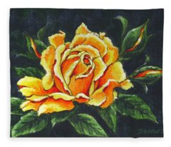 Golden Rose Sketch Fleece Blanket