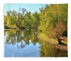 Golden Trees On Concord River Fleece Blanket