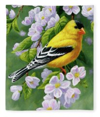 Male American Goldfinch And Apple Blossoms Fleece Blanket