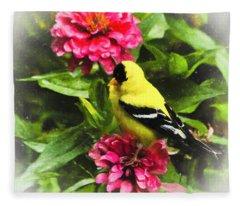 Goldfinches Love Zinnias Fleece Blanket