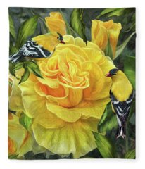 Fleece Blanket featuring the mixed media Goldfinches On Gold Roses by Carol Cavalaris