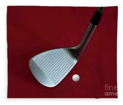 Fleece Blanket featuring the photograph Golf Club Wedge And Golf Ball by Mats Silvan