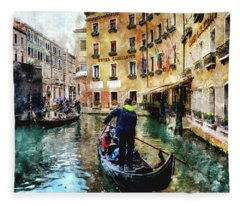 Gondola Traffic Near Piazza San Marco In Venice Fleece Blanket
