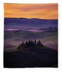 Good Morning San Quirico D' Orcia Fleece Blanket