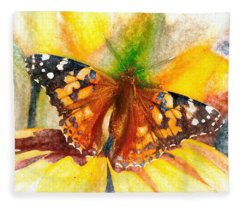 Gorgeous Painted Lady Butterfly Fleece Blanket
