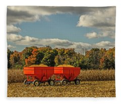 Grain Wagons Loaded With Maize Fleece Blanket