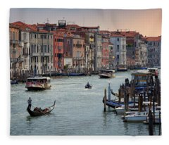 Grand Canal Gondolier Venice Italy Sunset Fleece Blanket