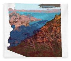 Grand Canyon In The Shape Of Arizona Fleece Blanket
