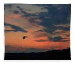 Grand Haven Airport Plane Landing Fleece Blanket