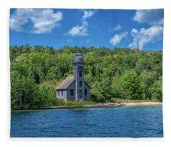 Grand Island East Channel Lighthouse Fleece Blanket