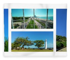 Grand Old Lighthouse Biloxi Ms Collage A1a Fleece Blanket