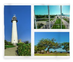Grand Old Lighthouse Biloxi Ms Collage A1d Fleece Blanket