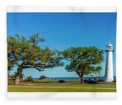 Grand Old Lighthouse Biloxi Ms Collage A1e Fleece Blanket