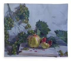 Grapes And Pomegranates Fleece Blanket