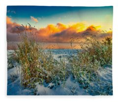 Grass And Snow Sunrise Fleece Blanket