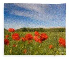 Grassland And Red Poppy Flowers 3 Fleece Blanket