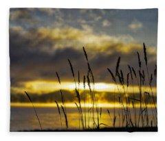Grassy Shoreline Sunrise Fleece Blanket