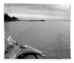 Gray Day On The Bay Fleece Blanket