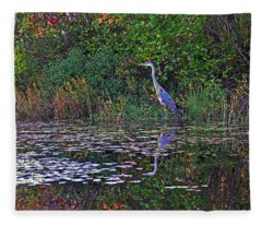 Great Blue Heron In Autumn Fleece Blanket