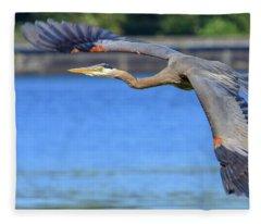Great Blue Heron In Flight Fleece Blanket