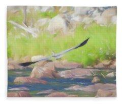 Great Blue Heron In Flight. Fleece Blanket