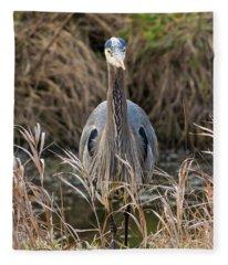 Great Blue Heron Portrait Fleece Blanket