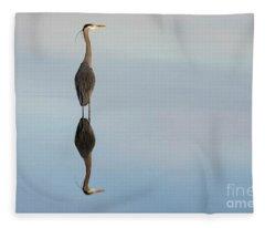 Great Blue Heron Reflected Beauty Fleece Blanket