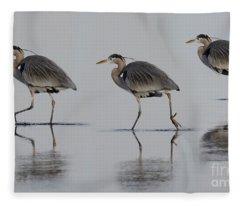 Great Blue Heron On The Prowl Fleece Blanket