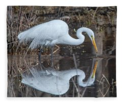 Great Egret In Breeding Plumage Dmsb0154 Fleece Blanket
