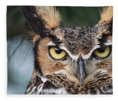 Great Horned Owl Eyes 51518 Fleece Blanket