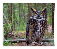 Great Horned Owl Standing On A Tree Log Fleece Blanket