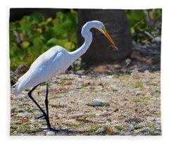 Great White Egret Hunter Fleece Blanket