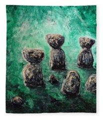 Green Ancient Latte Stone Site Fleece Blanket