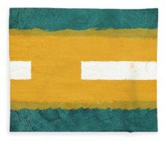 Green And Yellow Abstract Theme I Fleece Blanket