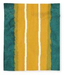 Green And Yellow Abstract Theme II Fleece Blanket