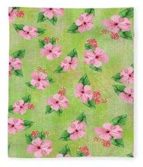 Green Batik Tropical Multi-foral Print Fleece Blanket