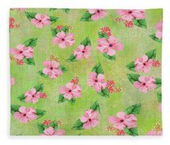 Green Batik Tropical Multi-foral Print Fleece Blanket